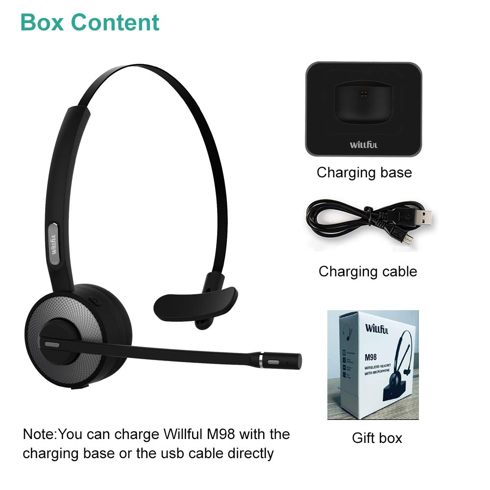 Trucker Bluetooth Headset,Willful Wireless Headset with Microphone,Charging Station,Noise Cancelling Clear Sound,Mute Button,Cell Phone Headset for Car Truck Driver Call Center Office iPhone Android by Willful (Image #7)