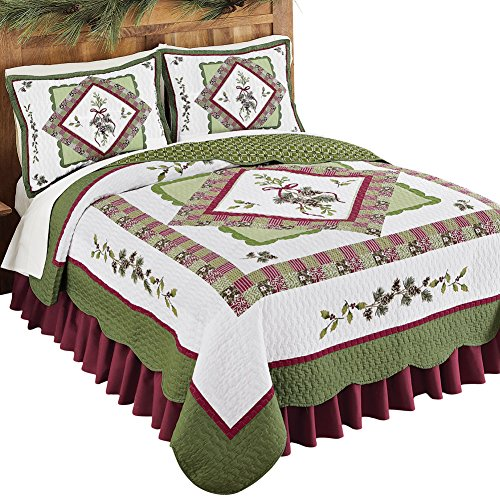 Woodland-Inspired Pinecone Patchwork Reversible Lightweight Quilt (Sets Holiday Quilt)