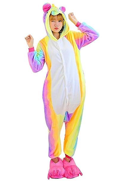 Pijama Unicornio Adulto - Cosplay Animal Disfraz Pyjamas Mujer Hombre Traje de Navidad (Arcoiris,