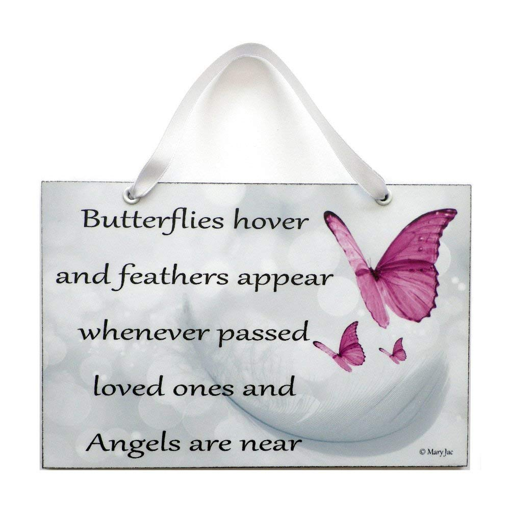 Angel Quote Butterflies Hover and Feathers Appear Angel Poem By Mary Jac Handmade Home Sign 472