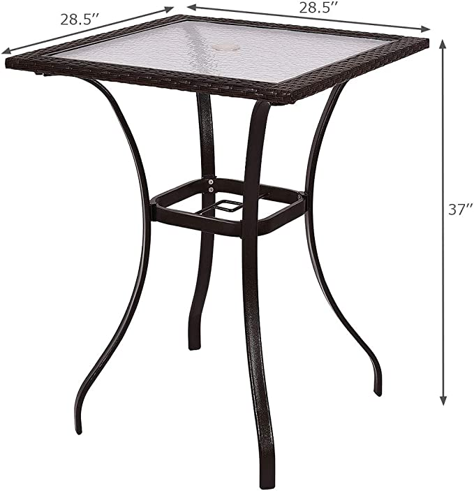 Amazon.com: TANGKULA Mesa de patio al aire libre, balcón ...