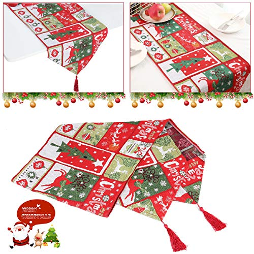 WizPower Christmas Table Runner, Cotton & Burlap Table Runner, Christmas Tree Elk Table Cloth for Christmas Table Decoration, Family Dinners or Gatherings, Indoor or Outdoor Parties
