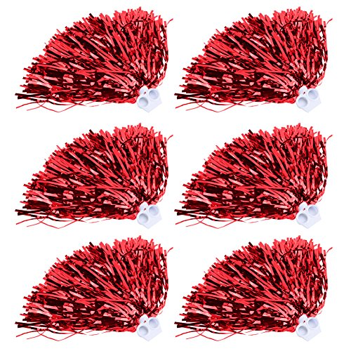 Cheerleader Pom Poms 12pcs Cheerleading Poms Metallic Foil Pom Poms Squad Cheer Sports Party Dance Useful Accessories (Red)