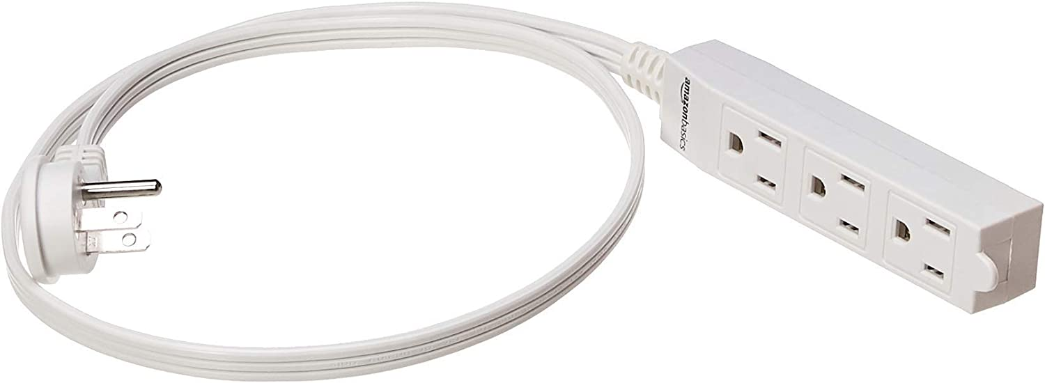 AmazonBasics Indoor Extension Cord - Flat Plug, Grounded, White, 3-Foot, 2-Pack (Renewed)