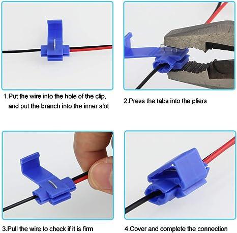 Rot//Blau//Gelb 60 x T-Abzweigverbinder FIXITOK 160 St/ück Abzweigverbinder Set 40 x Schnellabzweiger Quickverbinder 10-24 AWG f/ür Schnelle Verbindungskabel 60 x Flachstecker Schnellverbinder