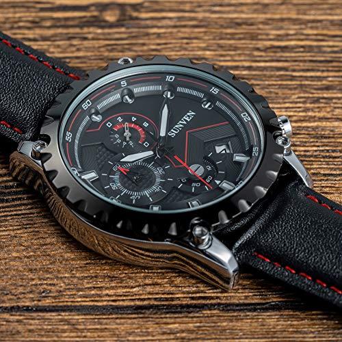 Orologi al quarzo da uomo Sunven Sport Impermeabile 30M Cinturino in pelle Cassa in acciaio inossidabile con funzione di cronometro data (NeroB)