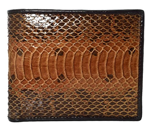 (Authentic Snake Skin Men's Bifold Python Snake Wallet (Brown))