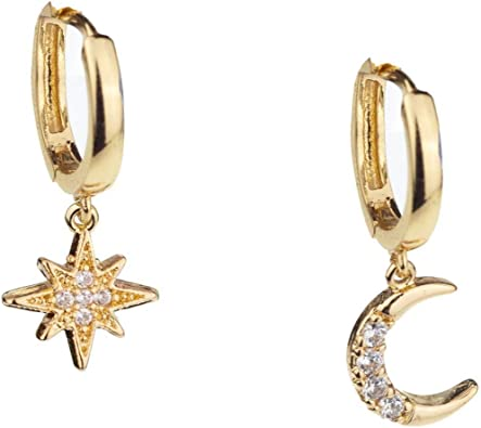 Star Hoop Earrings Charm Earrings Dainty Star Earrings Starry Night Hoops Charm Hoop Earrings Star Earrings Silver Star Earrings