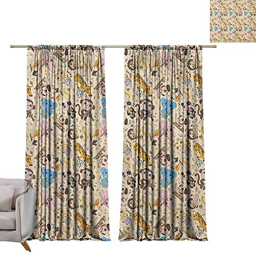 berrly Curtains Window Drapes Cartoon Animal,Musician Playful Animals Instruments Accordion Trumpet Violin Drum Concert, Multicolor W108 x L84 Blackout Window Curtain (Kokopelli Design Drum)