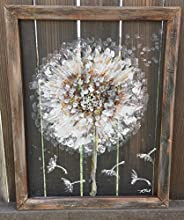 Dandelion, Make a wish, recycled, hand painted, handmade, window screen, screen art, rustic art, country style