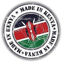 Made In Kenya Grunge Flag Stamp Art Decor Bumper Sticker 5'' x 5''