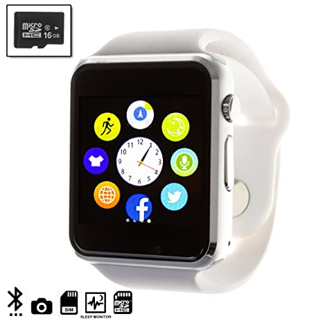 DAM TEKKIWEAR. Smartwatch G08 con cámara y opción a SIM + Micro SD Kingston 16GB Clase 4.4x1x4,5 cm. Color: Blanco