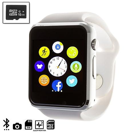 DAM TEKKIWEAR. Smartwatch G08 con cámara y opción a SIM + Micro SD Kingston 16GB Clase 4.4x1x4,5 cm. Color: Blanco