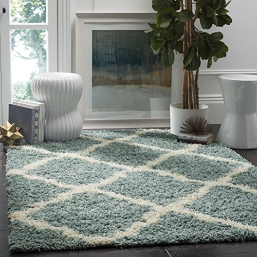 Safavieh Dallas Shag Collection SGD257C Light Blue and Ivory Square Area Rug (6' Square) (Square Green Shag Rug)