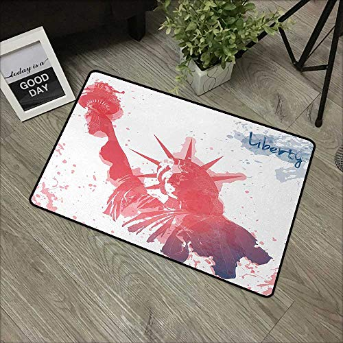 Hall mat W35 x L59 INCH 4th of July,Watercolor Lady Liberty Silhouette with Paint Splashes Independence,Dark Coral Pale Blue Non-Slip, with Non-Slip Backing,Non-Slip Door Mat Carpet ()