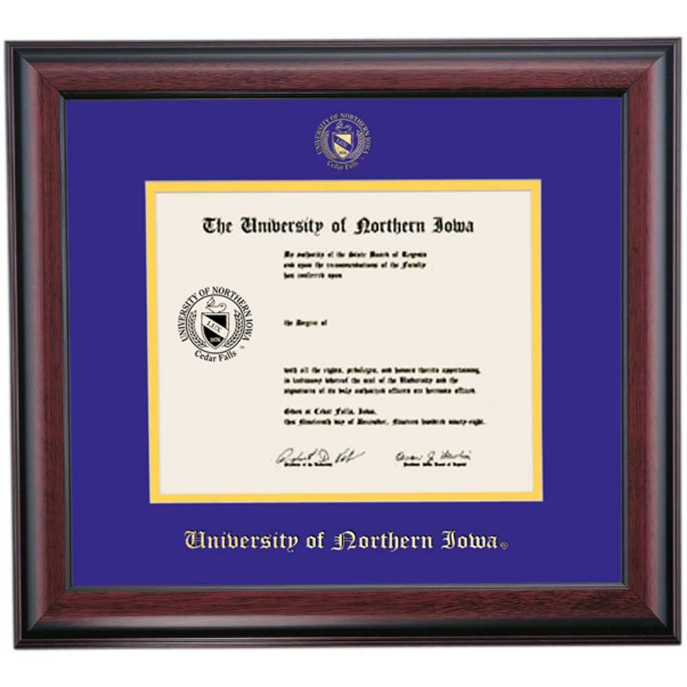 Campus Linens Northern Iowa Panthers Diploma Frame Purple Gold Matting Embossed Seal