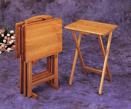 Set of 4 Oak Finish Solid Wood TV Dinner Tray Tables