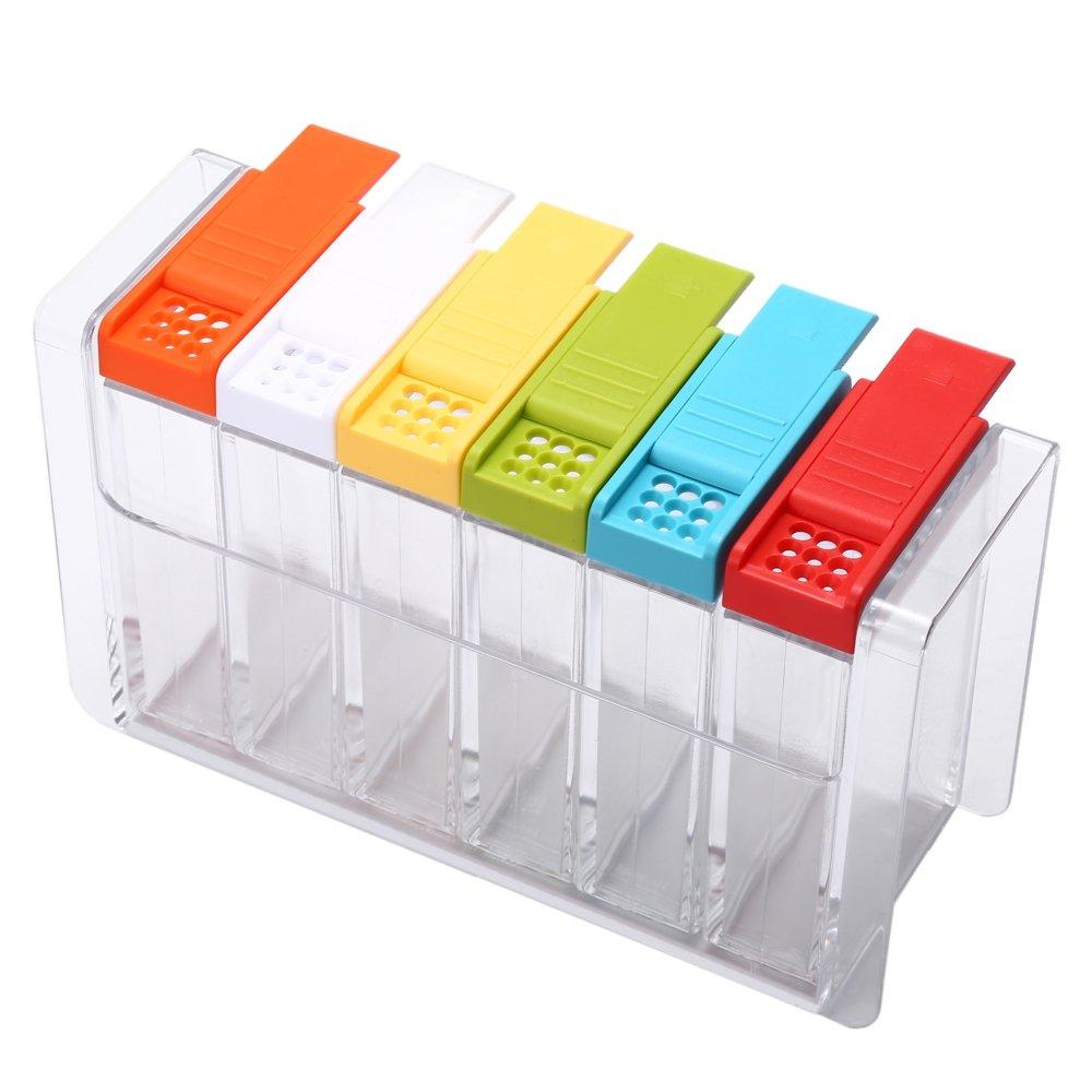 Acryl 6pcs//set Spice Jar Colorful W/ürze Box Kitchen Spice Aufbewahrungsbox Flasche Jars W/ürze Flasche Container W/ürze Box Acryl