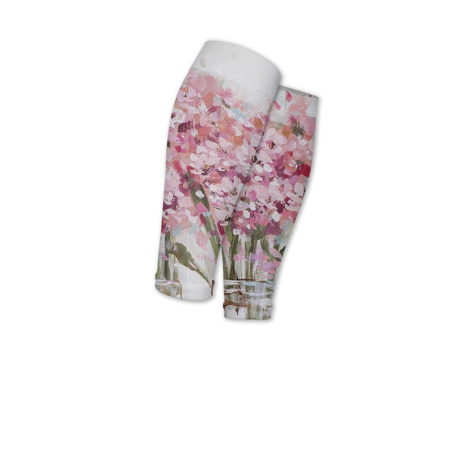 Smilelolly Oil Painting Pink Flower Calf Compression Sleeves Helps Calf Guard Leg Sleeves for Men Women