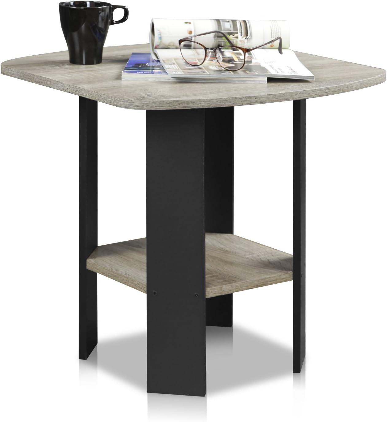 FURINNO Simple Design End Table, 2-Pack, French Oak Grey/Black: Furniture & Decor