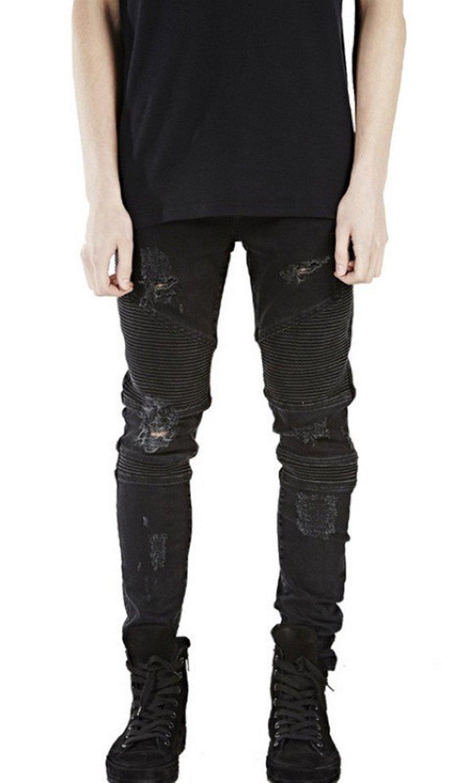 Aiyino Mens Skinny Runway Distressed Slim Denim Biker Jeans Hiphop Pants (US 29(Tag Size 31), Rippedblack)