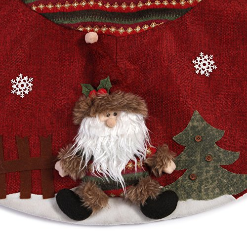 Sea Team 47'' Luxury Collection Cotton Blend & Non-woven Fabric Double-layer Applique Christmas Tree Skirt with Stereoscopic Pop Christmas Elements, Burgundy by Sea Team (Image #5)