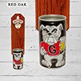 Wall Mounted Bottle Opener with Vintage Georgia Bulldogs Beer Can Cap Catcher For Sale