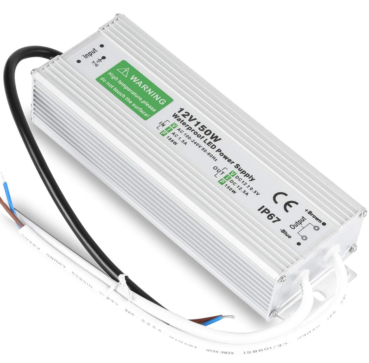 LED Driver 150W Durable Waterproof IP67 12V DC Transformer Compatible LED Lighting Module Low Voltage Power Supply Output Accessories by LEDMO