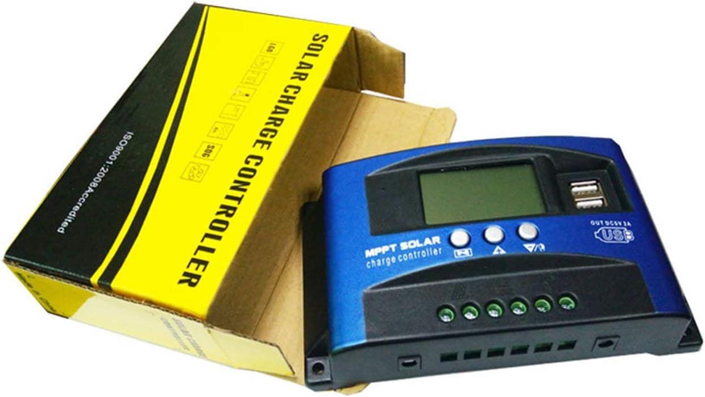 LIGH Controlador de Carga 30A Controlador de Panel Solar 12V / 24V Parámetro Ajustable Pantalla LCD Regulador Solar Seguimiento de Enfoque automático - Azul