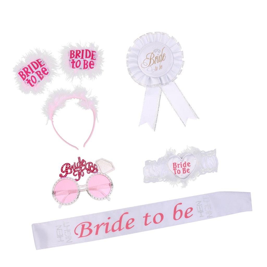 Jili Online 5/set Hen Party Bride To Be Accessories Sash & Headband & Sunglasses & Garter & Rosette