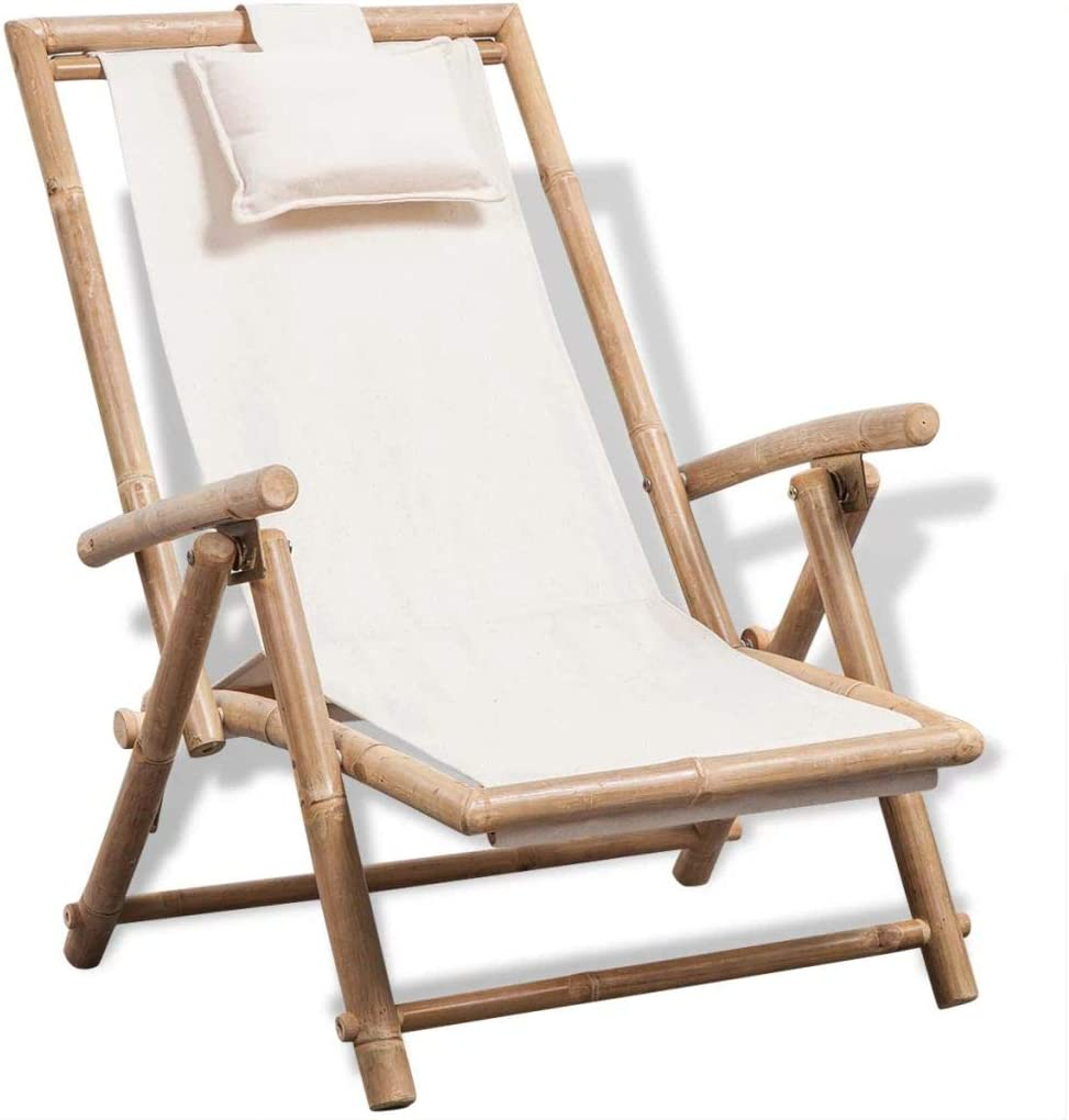 Festnight Outdoor Patio Bamboo Chaise Lounge Chair, Garden Wood Deck Chair