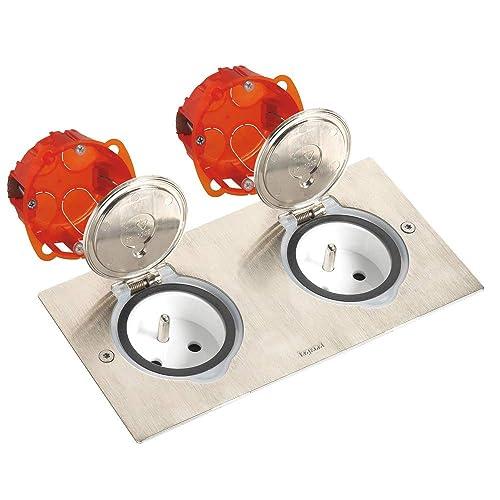 Legrand 092111 Kit Double Prise de Sol Etanche en Inox 230V, Gris, 2 Pôles + Terre