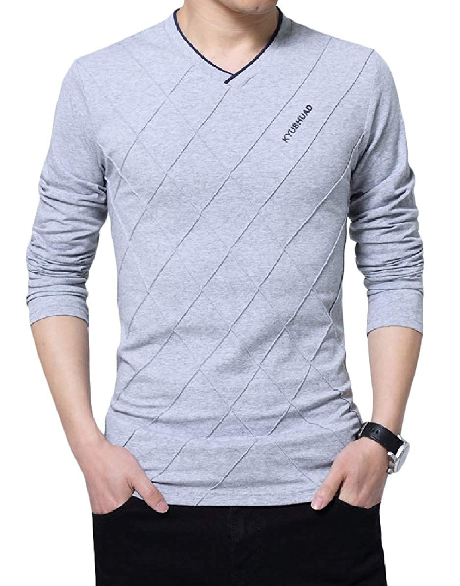 Zimaes-Men Long Sleeve Over Sized Print V Neck Pure Color Tees