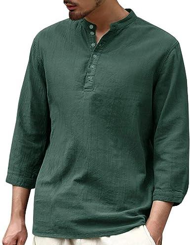 Betrothales Lino Blusa Lino Algodón Hippie Camisetas Camisa Shirts Vendimia Camisas Henley Hombres Manga Larga Camiseta Ocasional Top Floja Sólidos Colores: Amazon.es: Ropa y accesorios