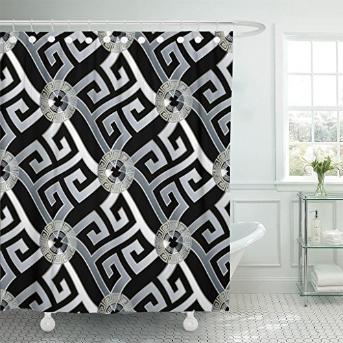 Breezat Shower Curtain Modern Geometric Black with White 3D Wavy Greek Key Circles Geometrical Shapes Figures and Vintage Waterproof Polyester Fabric 72 x 72 Inches Set with Hooks