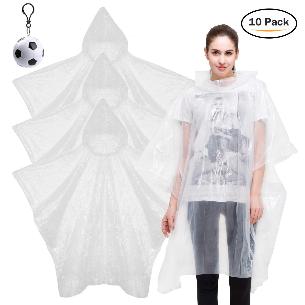 Digitek Waterproof Ponchos - Disposable Poncho Waterproof Raincoat, 10 PCS Rain Poncho Raincoat 2018 Emergency Poncho, Portable Poncho for Festival Camping Hiking Travel and Theme Parks