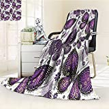 Digital Printing Blanket India Asian Butterflies withMotif on Wings Art Plum Lilac White Summer Quilt Comforter