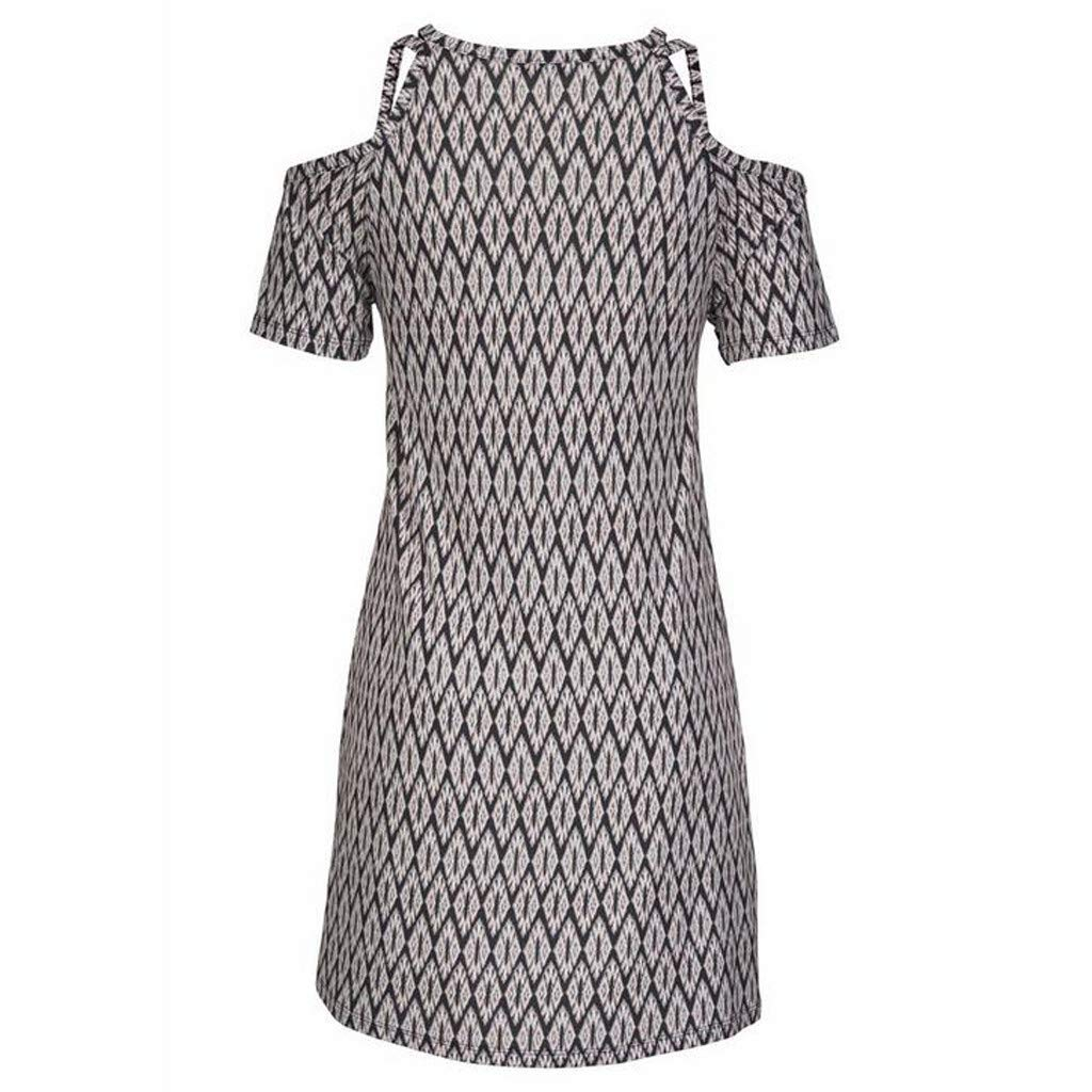 Women's Sexy Cold Shoulder Short Sleeve Midi Dress Geometric Pattern Boho Style Loose Sundress Vintage Sling Dresses (XXL) by Cealu (Image #6)