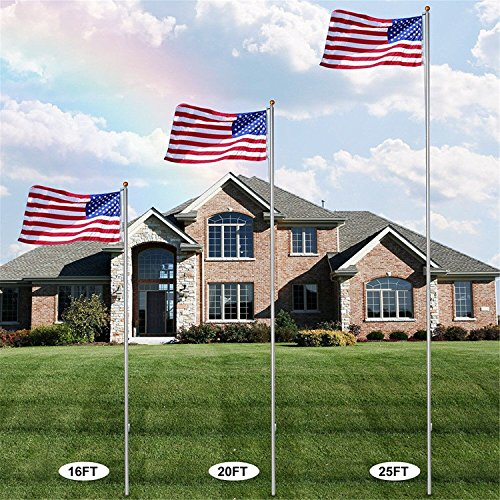 LEMY Flag pole Aluminum Sectional Flagpole Kit Outdoor Halyard Pole W/3'x5' US Flag,Top Ball,In-Ground Pole and Hardware (20ft)