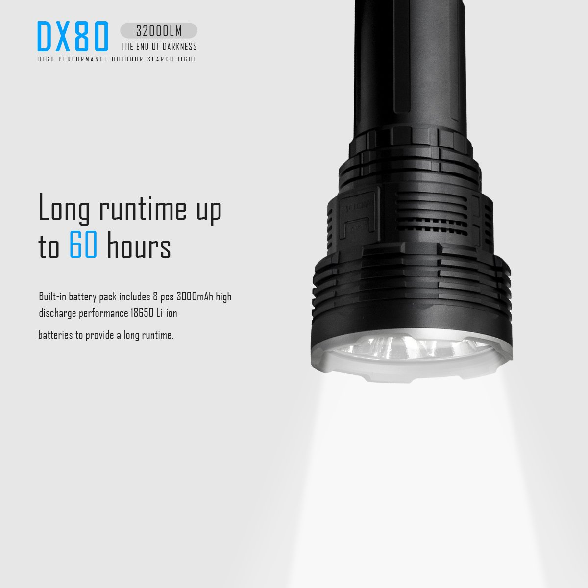 IMALENT DX80 8PCS Cree XHP70 32000lm The Most Powerful LED Flashlight,Hand-held,To Use For Emergency, Travel, Home Lighting, Late Night Out, Flood Lighting, To Meet A Variety Of Lighting Needs by IMALENT (Image #6)
