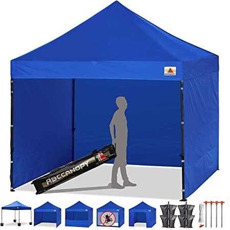 ABCCANOPY Canopy Tent 10 x 10 Pop Up Canopies Commercial Tents Market stall with 4 Removable Sidewalls and Roller Bag Bonus 4 Weight Bags and 10ft Screen Netting and 10ft Half Wall 30 Muti Colors