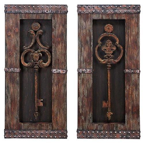 Casa Cortes Vertical Vintage Slightly Distressed Design Metal Keys 2-Piece Wall Art Decor (Coaster Set Metal Case)