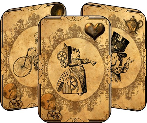 [Alice in Wonderland grunge steampunk 8 table tent cards party decoration] (Steampunk Decorations)