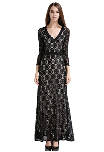 Buenos Ninos Women's 2/3 Sleeve Deep V-neck Floral Lace Long Evening Gown Dress