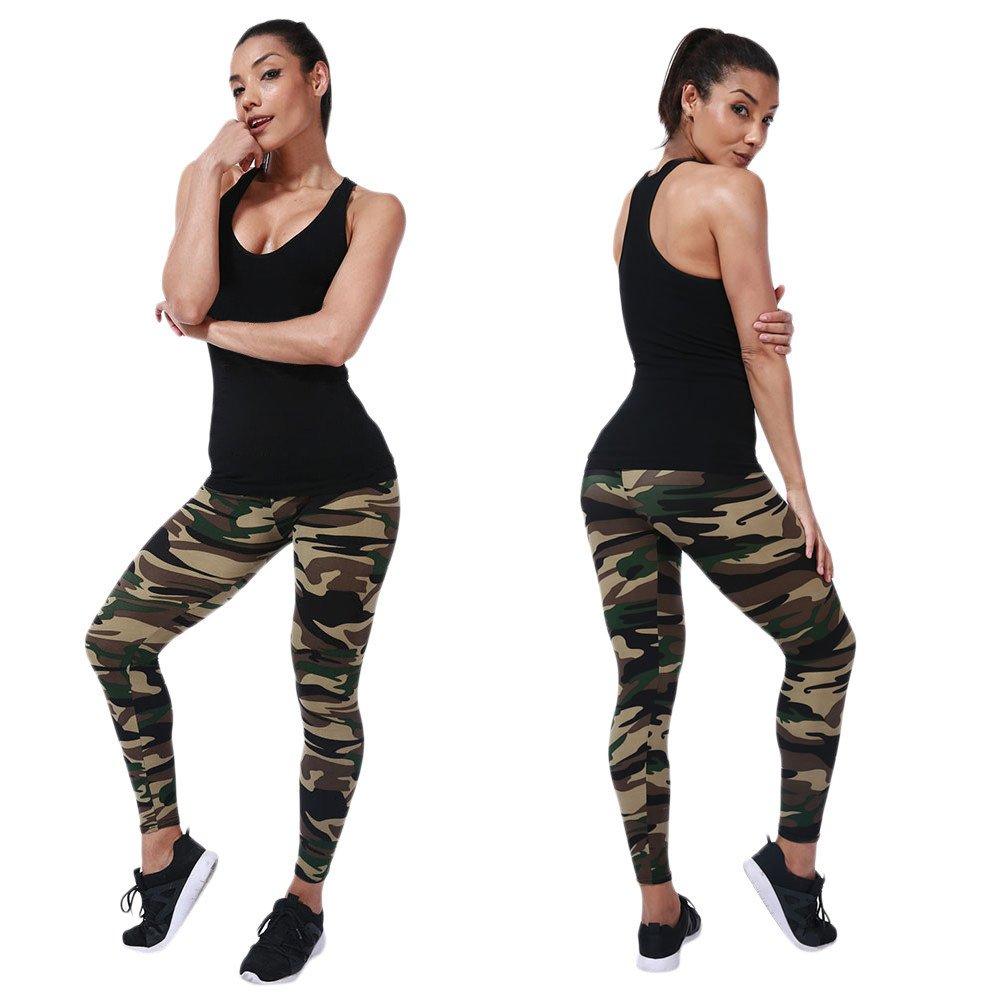 TUDUZ Damen Lang Sport Yoga Leggings Hosen Camouflage Printed Enge Leggings