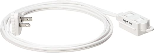 Amazon Basics Indoor 2 Prong Extension Power Cord Strip - Flat Plug, 6 Foot, Pack of 2, White