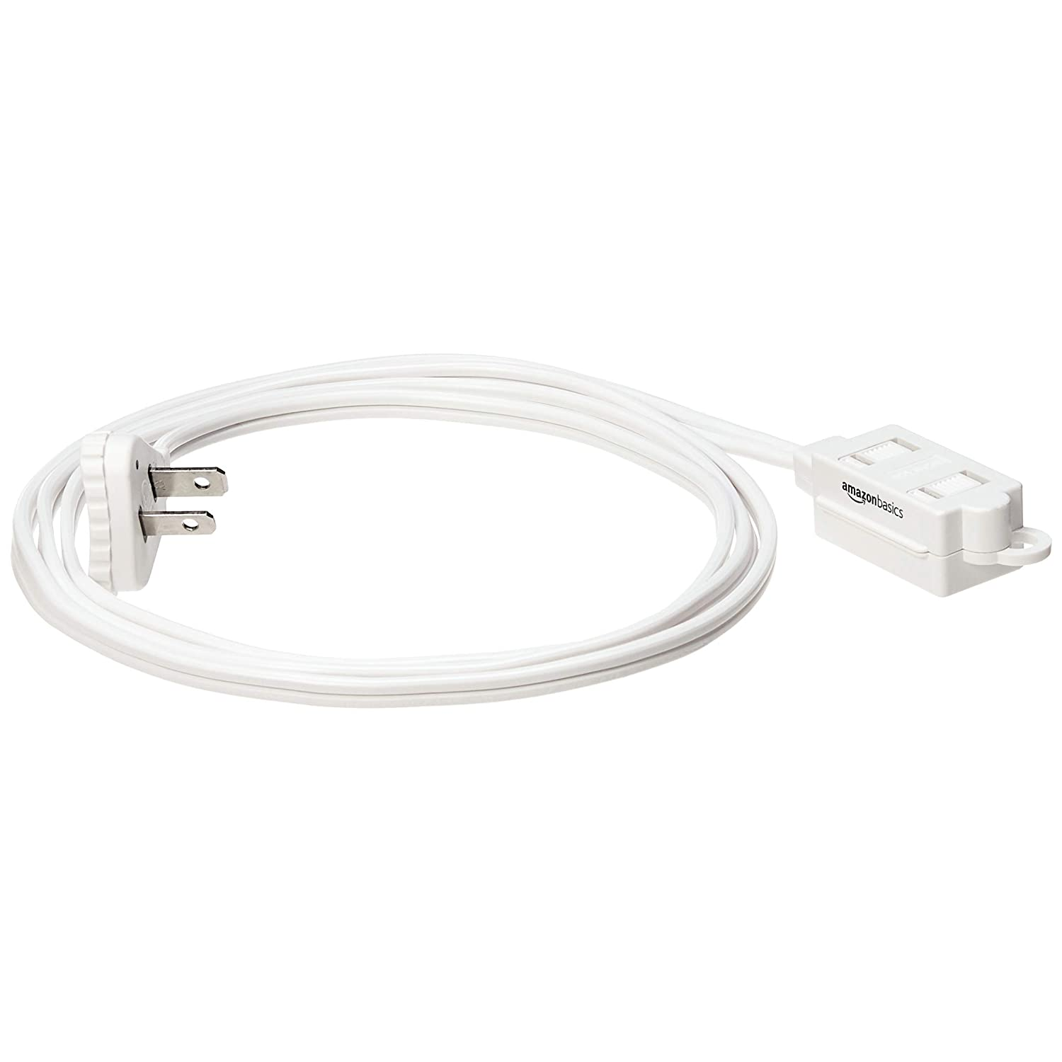 Flat Plug 6-Foot Grounded Basics Indoor Extension Cord 2-Pack White