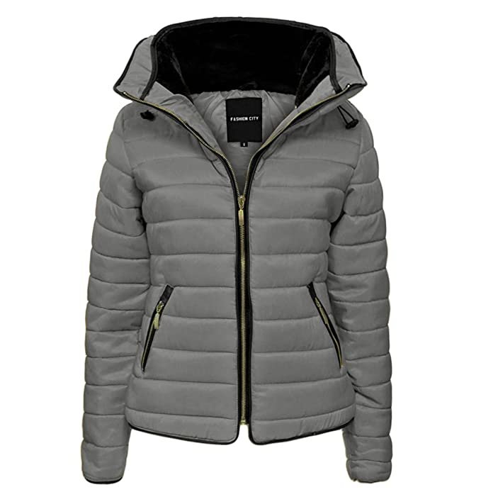 ec3a94e133c3 GLAM COUTURE NEW LADIES WOMENS QUILTED PADDED PUFFER BUBBLE FUR COLLAR WARM  THICK JACKET COAT  Amazon.co.uk  Clothing