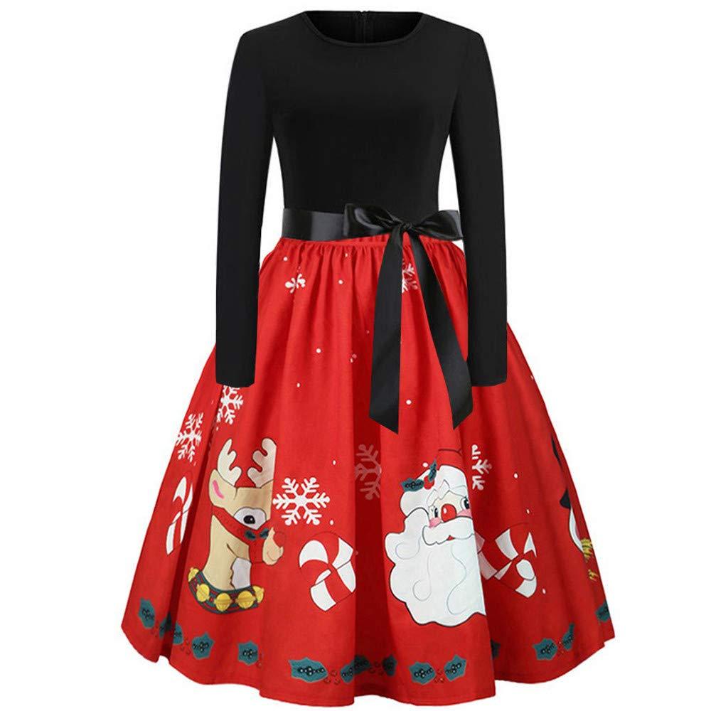 ❤️Merry Christmas❤️ Femmes Dames Santa Reindeer Wall Costume De Flocon De Neige De Noë l Hepburn Mini Dress