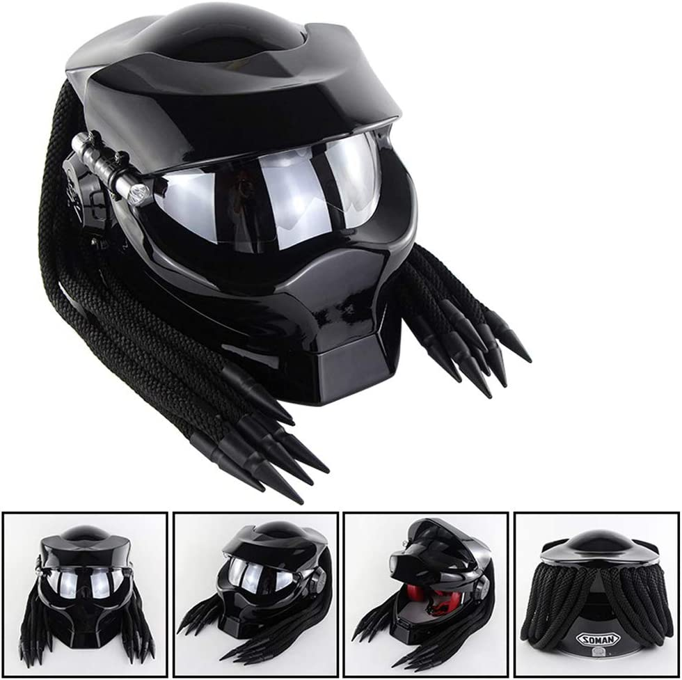 Harley Retro Crash Motorcycle Helmet with Led Spotlights ACC Full Face Motorcycle Helmet with Goggles Predator Black